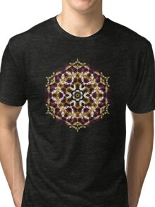 Mandala of bordo and yellow colors Tri-blend T-Shirt
