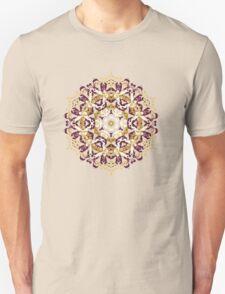 Mandala of bordo and yellow colors Unisex T-Shirt