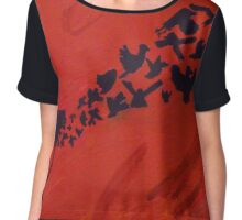 Birds From Silhouette Chiffon Top