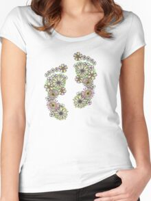 Floral Footprints Women's Fitted Scoop T-Shirt