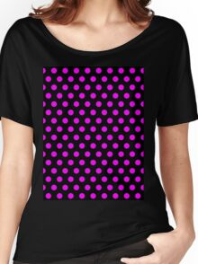 Polkadots Black and Pink Women's Relaxed Fit T-Shirt