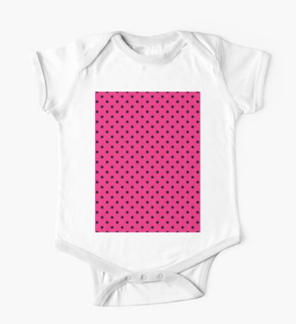 Polkadots Pink and Black One Piece - Short Sleeve