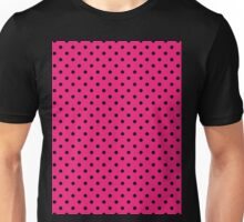 Polkadots Pink and Black Unisex T-Shirt