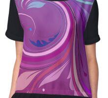 Purple Elegant Floral Swirl Chiffon Top