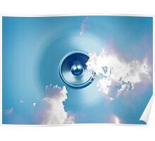 Spinning music speaker with clouds Poster