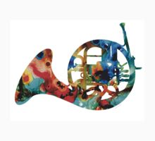 French Horn - Colorful Music by Sharon Cummings Kids Tee