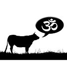 Sacred cow making the ॐ sound, a sacred sound and a spiritual icon in Indian religions. by funkyworm