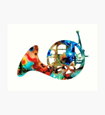 French Horn - Colorful Music by Sharon Cummings Art Print