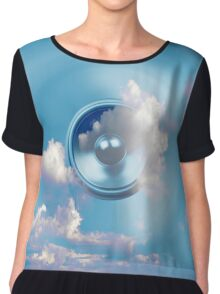 Spinning music speaker and blue sky Chiffon Top