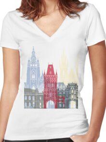 Prague skyline poster Women's Fitted V-Neck T-Shirt