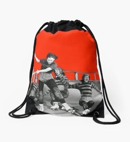 ROLLER DERBY VINTAGE GIRLS gerry murray Drawstring Bag