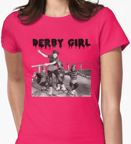 DERBY GIRL ROLLERSKATE VINTAGE ROLLERDERBY gerry murray Womens Fitted T-Shirt