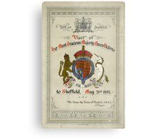 Programme for the visit of Queen Victoria to Sheffield, 1897 Metal Print