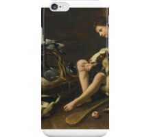 Pseudo Salini A GENRE SCENE OF A SEATED BOY WITH BAT AND BALL, A COLLARED SHEEP, A BASKET OF DOVES AND PAIR OF DUCKS iPhone Case/Skin