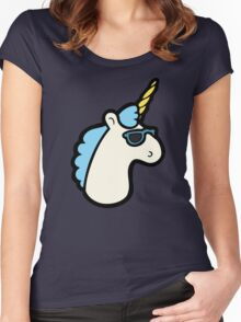 Unicorns Are Cool Pattern - Blue Women's Fitted Scoop T-Shirt