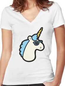 Unicorns Are Cool Pattern - Blue Women's Fitted V-Neck T-Shirt