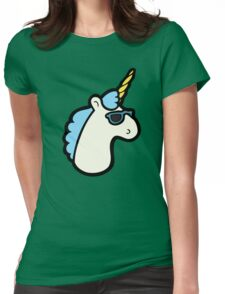 Unicorns Are Cool Pattern - Blue Womens Fitted T-Shirt