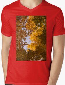 Golden Autumn Canopy - a Window to the Sky Vertical Mens V-Neck T-Shirt