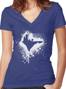 Flying windmill Women's Fitted V-Neck T-Shirt