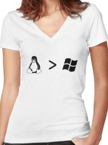 Linux/windows Women's Fitted V-Neck T-Shirt