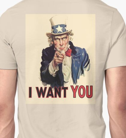 UNCLE SAM, Americana, America, I Want You! Uncle Sam Wants You. Recruitment Poster, USA, Unisex T-Shirt