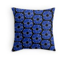 Graphic Flower Blue White Grey & Black 516B Throw Pillow