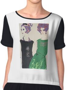 Pop Art Mid-Century Inspired Retro Portrait - Women #1 Chiffon Top