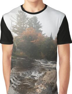 Foggy Fall Waterscape - the Rushing River Graphic T-Shirt