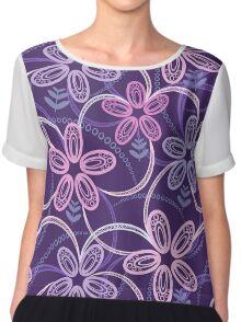 Night violet  floral pattern Chiffon Top