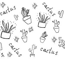 Hand draw cactus  Photographic Print