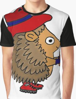 Cool Funny Hedgehog with Flower Graphic T-Shirt