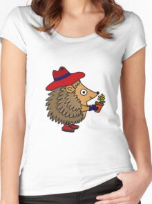 Cool Funny Hedgehog with Flower Women's Fitted Scoop T-Shirt