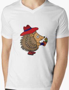 Cool Funny Hedgehog with Flower Mens V-Neck T-Shirt
