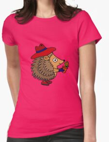 Cool Funny Hedgehog with Flower Womens Fitted T-Shirt