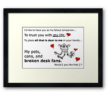 Hastily Made Gamer Valentine - Gamer Geek fallout  Framed Print