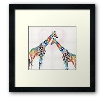 Colorful Giraffe Art - I've Got Your Back - By Sharon Cummings Framed Print