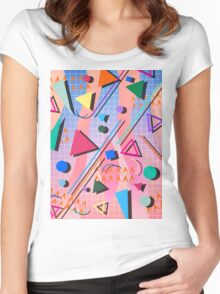 80s pop retro pattern 2 Women's Fitted Scoop T-Shirt