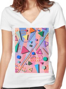 80s pop retro pattern 2 Women's Fitted V-Neck T-Shirt
