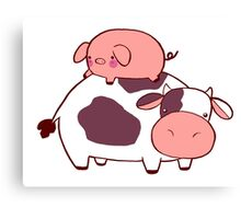 Cow and Pig Canvas Print