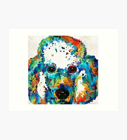 Colorful Poodle Dog Art by Sharon Cummings Art Print