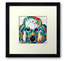 Colorful Poodle Dog Art by Sharon Cummings Framed Print