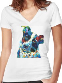 Colorful Dog Art - Irresistible - By Sharon Cummings Women's Fitted V-Neck T-Shirt