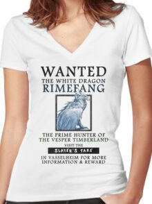 WANTED: The White Dragon, Rimefang - Critical Role Fan Design Women's Fitted V-Neck T-Shirt