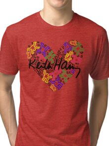 keith haring, keith, haring, big, love, graffiti, man, girl, family, wall, symbol. Tri-blend T-Shirt