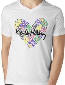 keith haring, keith, haring, big, love, graffiti, man, girl, family, wall, symbol. Mens V-Neck T-Shirt