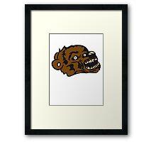 undead face head zombie blood horror halloween scary evil monster hug funny sweet cute teddy bear Framed Print