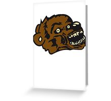 undead face head zombie blood horror halloween scary evil monster hug funny sweet cute teddy bear Greeting Card