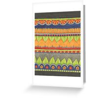 green leaves, gold and red flowers Greeting Card