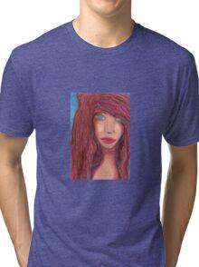 Oil Pastel Girl Portrait Tri-blend T-Shirt