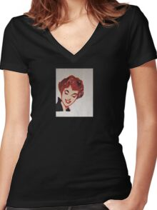 Pop Art Pin Up Retro Portrait - Woman #15 Women's Fitted V-Neck T-Shirt